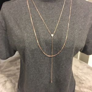 2 layer necklace with small crystal center